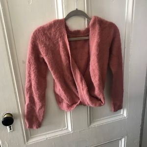 Pink fuzzy cropped UO sweater
